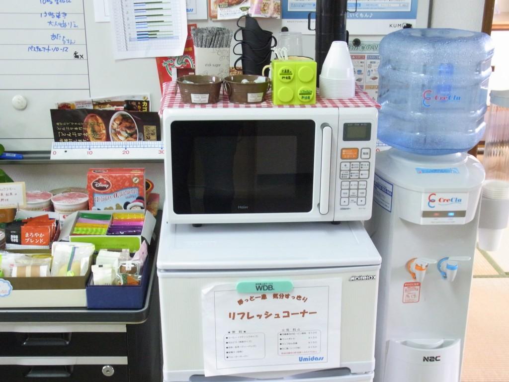 コワーキングスペースUmidassの冷蔵庫、電子レンジ