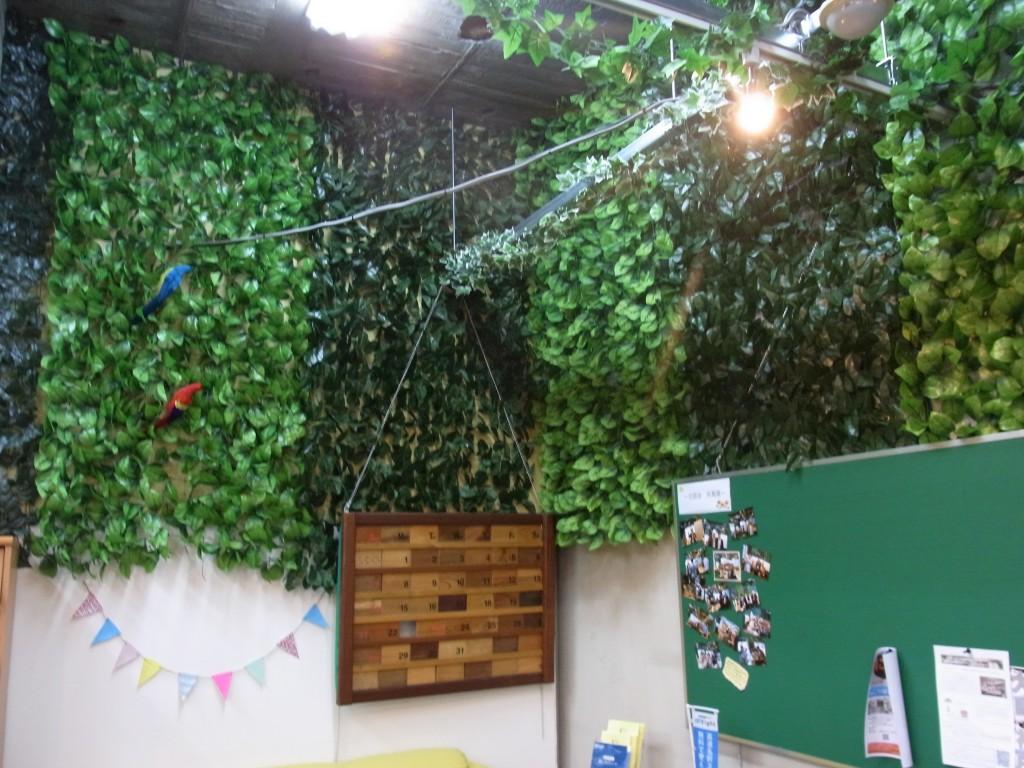 フロアの壁のグリーンカーテン