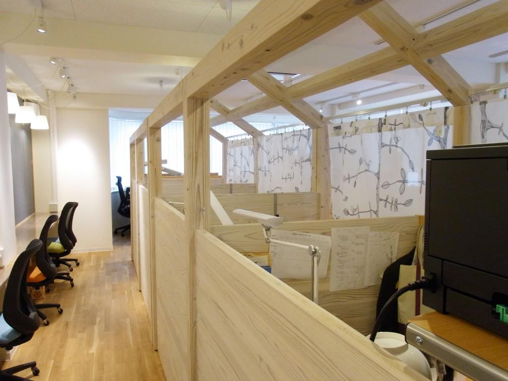 シェアオフィスの木材