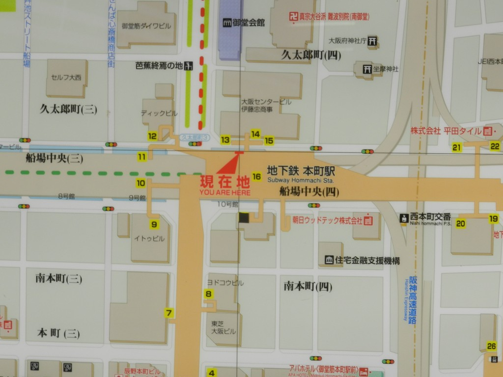本町駅14番出口の地図